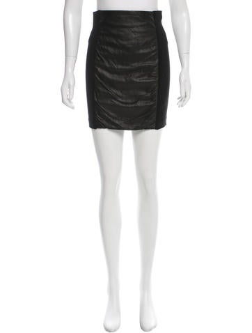 Theory Leather-Accented Mini Skirt None