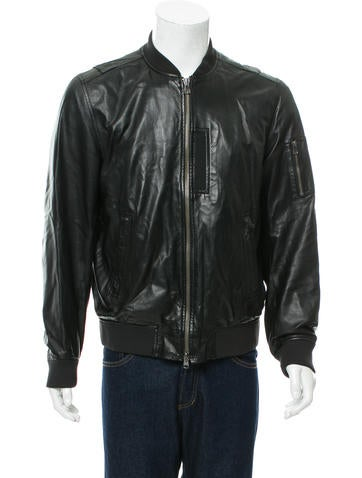 Theory Leather Rib Knit-Trimmed Jacket None