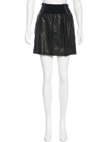 Theory Leather Mini Skirt None