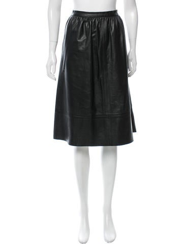 Theory Leather Knee-Length Skirt None