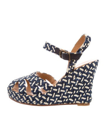 Theory Woven Platform Wedge Sandals None