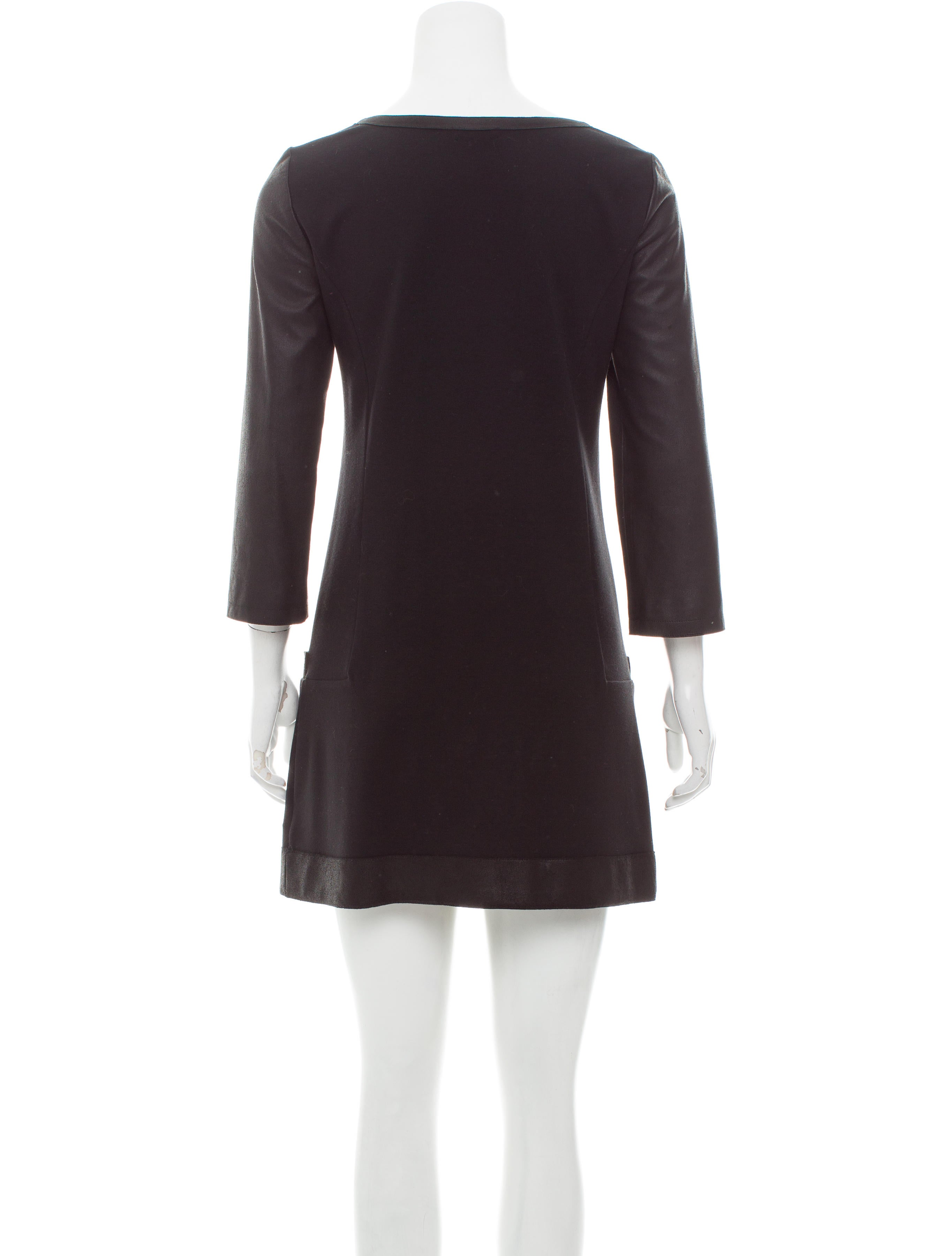 Theory Leather Trimmed Mini Dress Clothing WTE25568  : WTE255683enlarged from www.therealreal.com size 2730 x 3601 jpeg 301kB