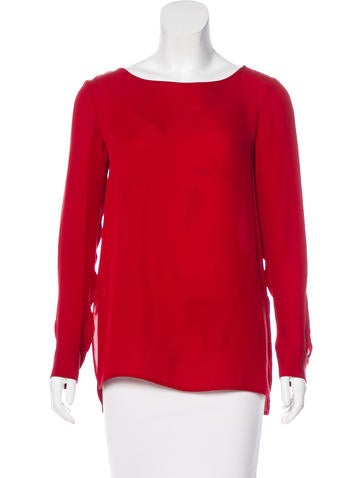 Theory Silk Long Sleeve Blouse None