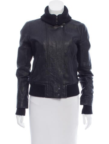 Theory Leather Zip Front Jacket None