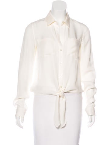 Theory Silk Button-Up Top None