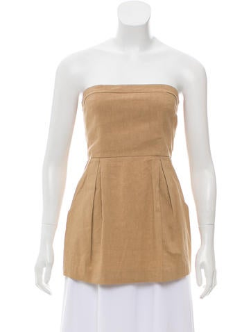 Theory Strapless Pleated Top None