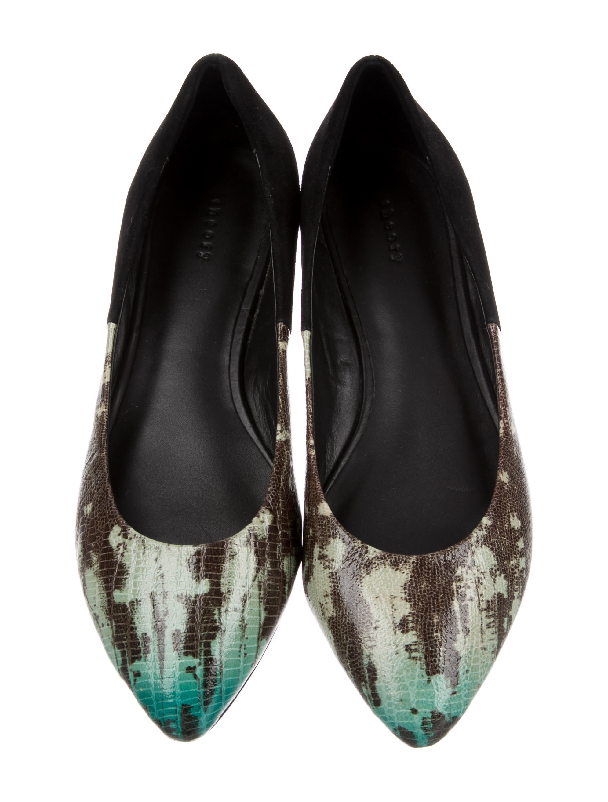 Theory Embossed Semi-Pointed-Toe Flats sale reliable cheap sale limited edition OX9bu