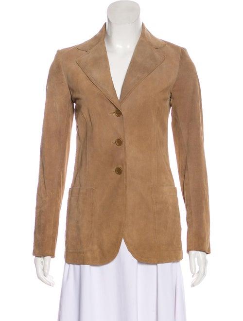 Theory Leather Three-Button Blazer Tan