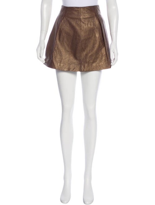 Theory Leather Skater Skirt Brown