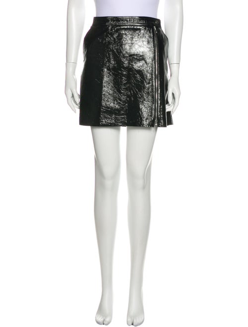Theory Leather Mini Skirt Black
