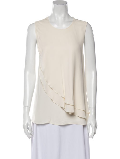 Theory Silk Scoop Neck Blouse White