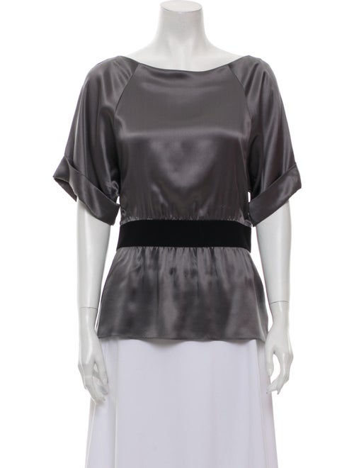 Theory Silk Scoop Neck Blouse Grey