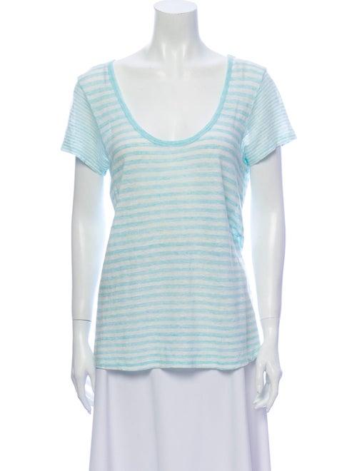 Theory Linen Striped T-Shirt Blue