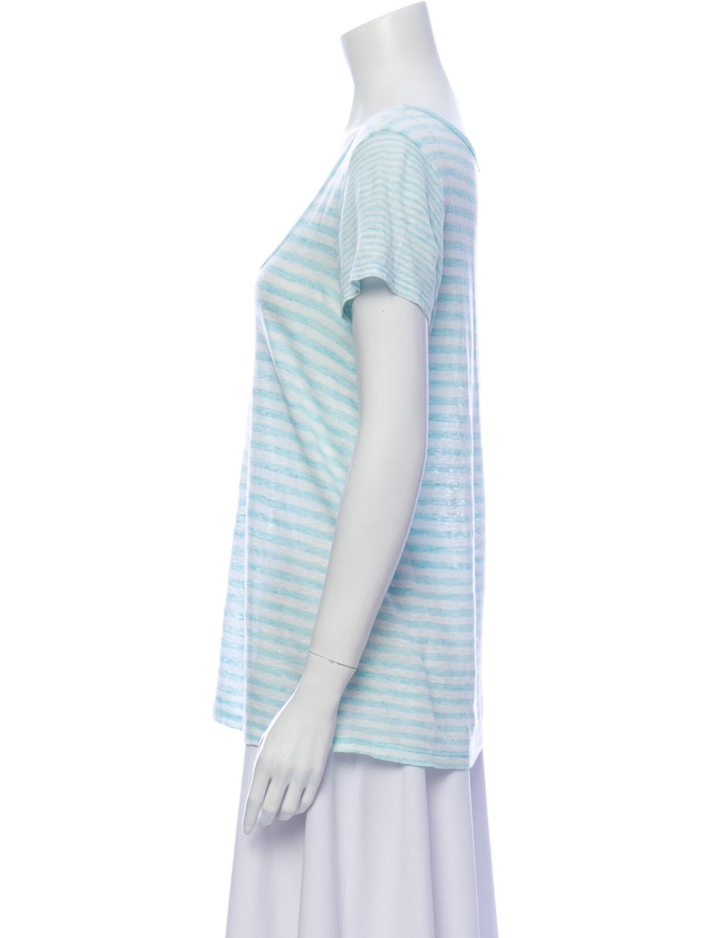 Theory Linen Striped T-Shirt Blue - image 2