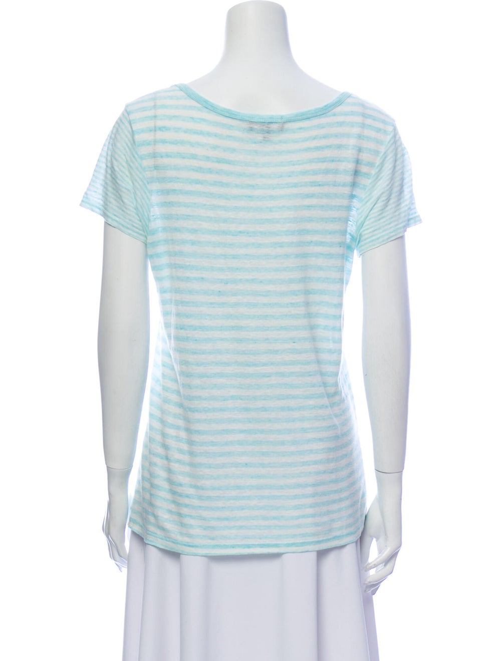 Theory Linen Striped T-Shirt Blue - image 3