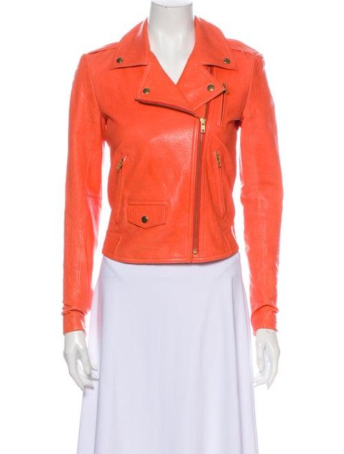 Theory Leather Biker Jacket Orange