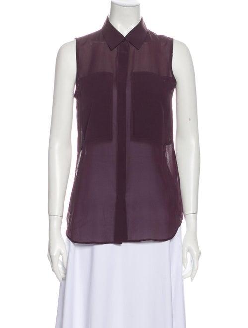 Theory Silk Sleeveless Button-Up Top Purple