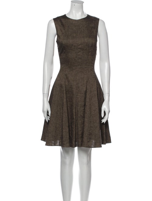 Theory Linen Knee-Length Dress Brown