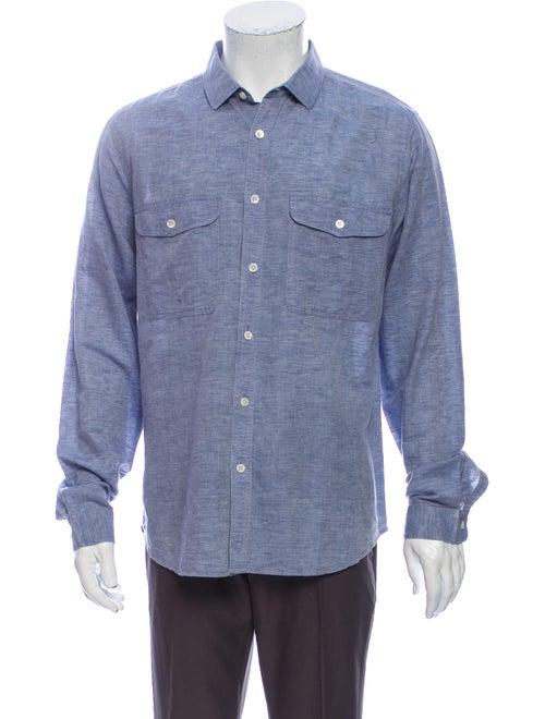Theory Linen Long Sleeve Shirt Blue