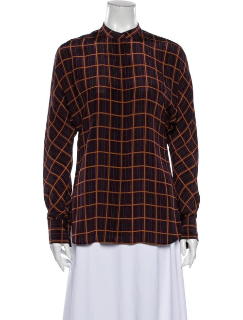 Theory Silk Plaid Print Button-Up Top