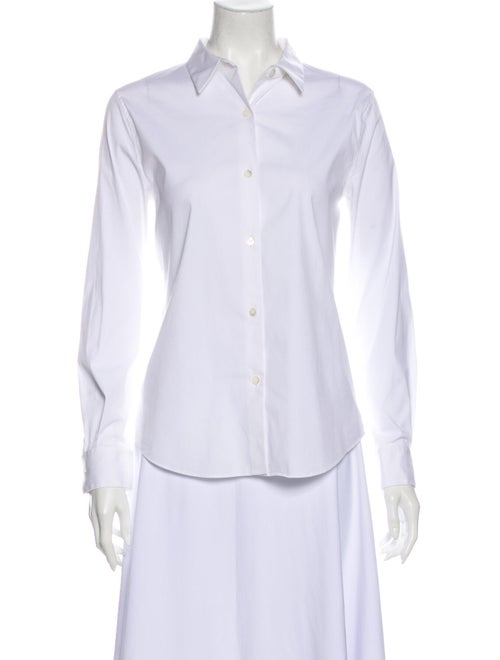 Theory Long Sleeve Button-Up Top White