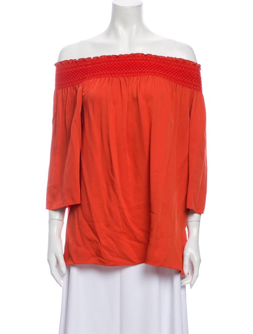 Theory Silk Off-The-Shoulder Blouse Orange