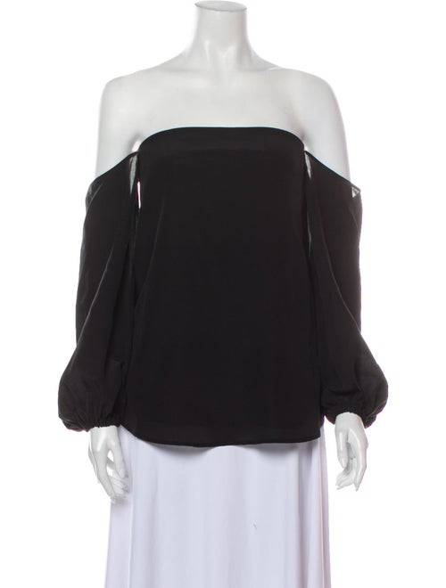 Theory Silk Off-The-Shoulder Blouse Black