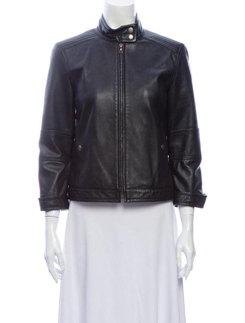 Theory Leather Biker Jacket Black