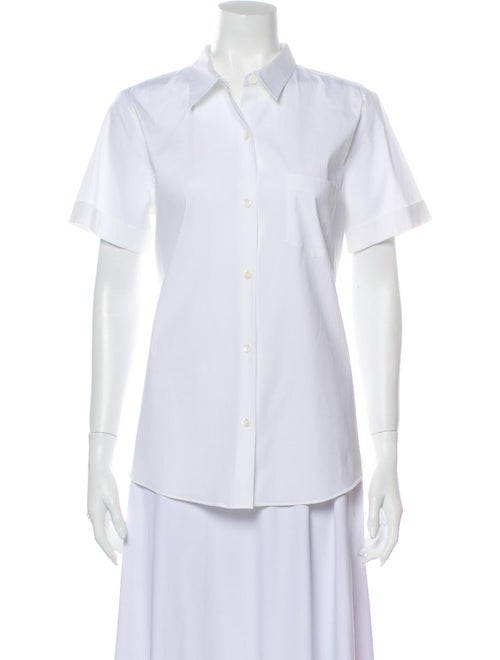 Theory Short Sleeve Button-Up Top White