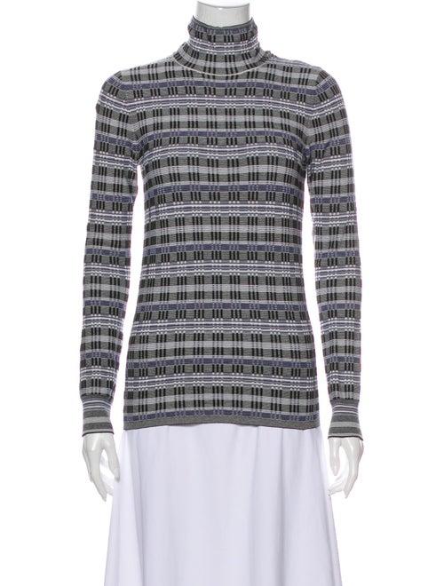 Theory Striped Turtleneck Sweater Black
