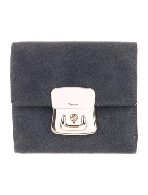 Theory Suede Mini Wallet Grey