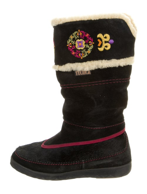 Tecnica Suede Embroidered Accent Boots Black