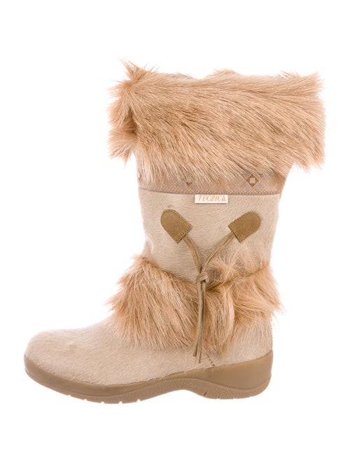 Tecnica Ponyhair Embroidered Accent Boots Brown