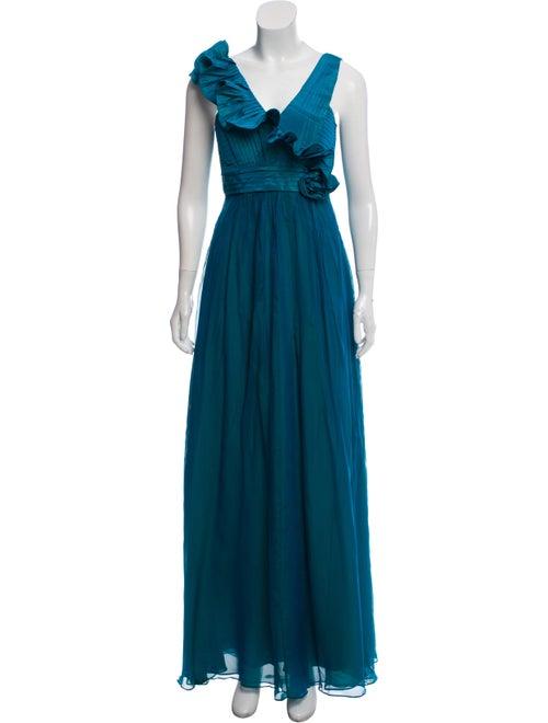 Teri Jon Silk Sleeveless Gown w/ Tags Blue