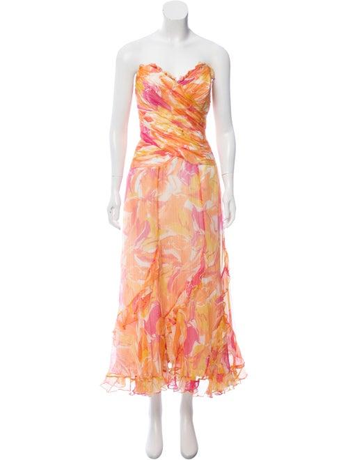 Teri Jon Strapless Evening Dress w/ Tags Orange
