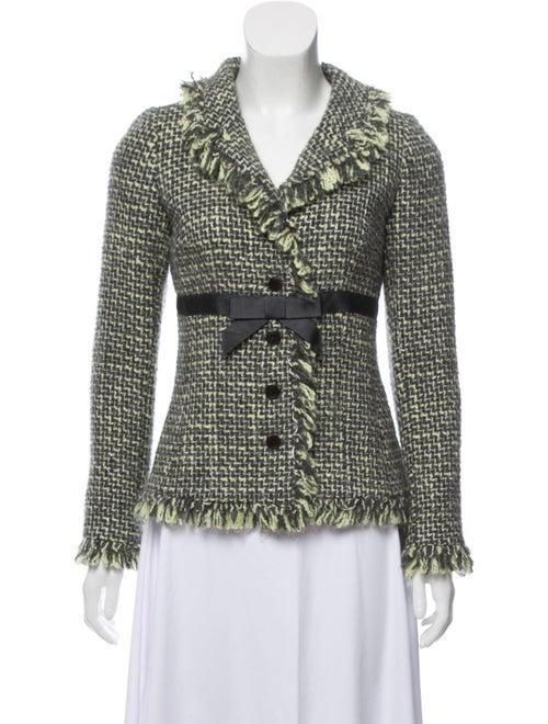 Teri Jon Tweed Pattern Evening Jacket Green