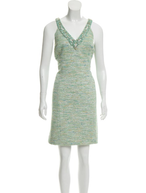 Teri Jon Tweed Pattern Mini Dress Green