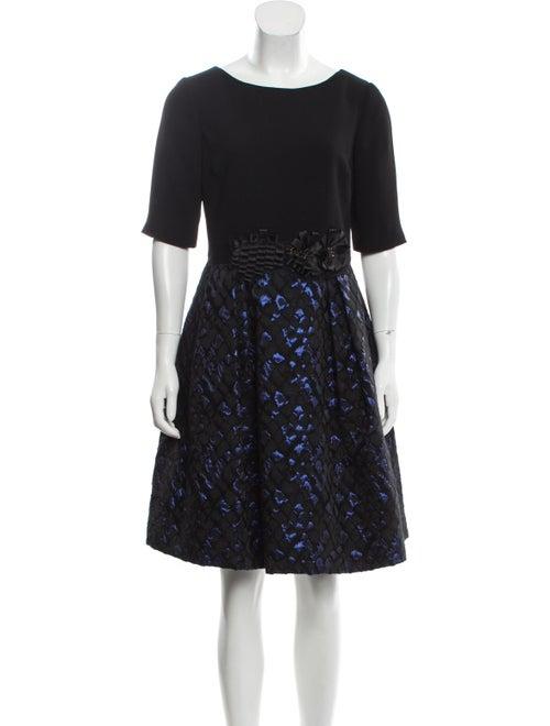 Teri Jon Bateau Neckline Knee-Length Dress Blue
