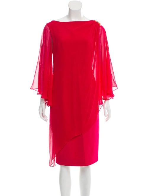 Teri Jon Embellished Silk Dress Magenta
