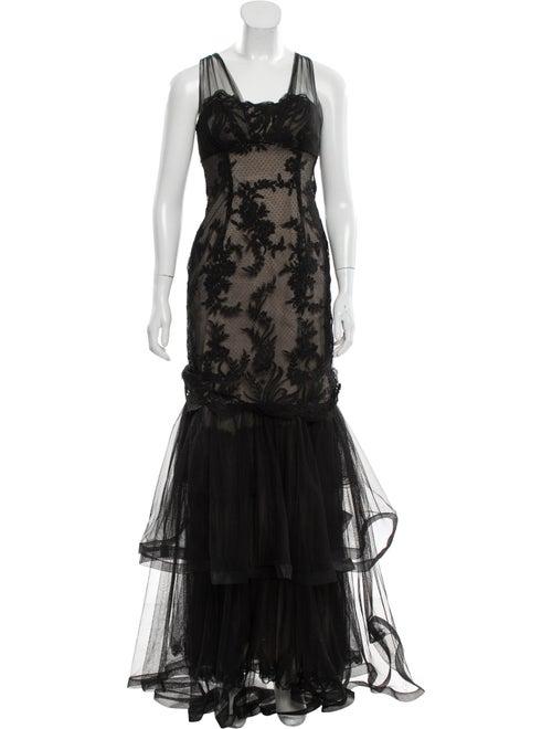 Teri Jon Lace Pattern Long Dress Black