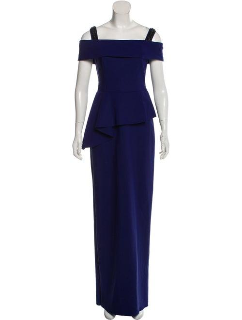 Teri Jon Off-The-Shoulder Long Dress Blue