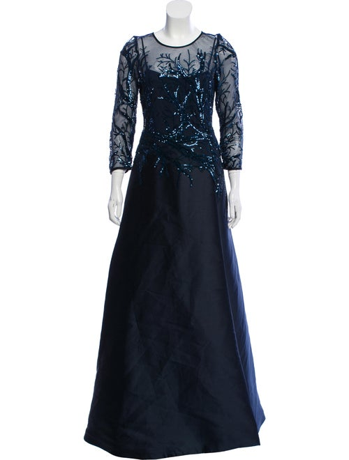 Teri Jon Crew Neck Long Dress Blue
