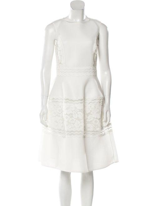 Teri Jon Bateau Neckline Knee-Length Dress White