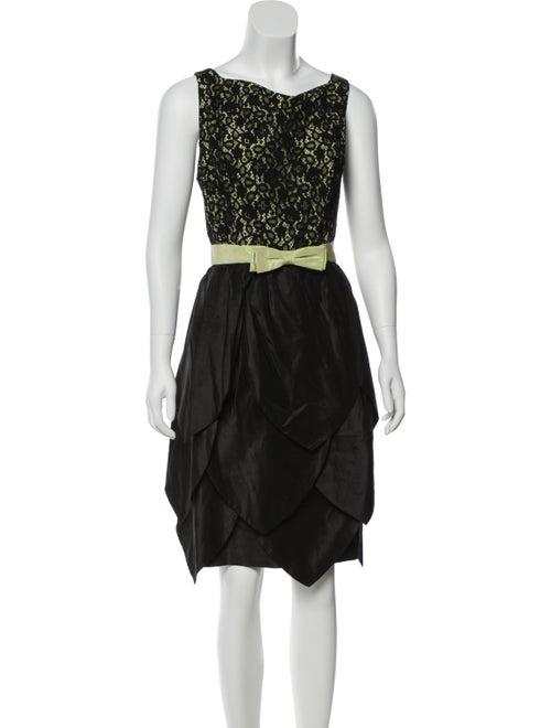 Teri Jon Silk Knee-Length Dress Black