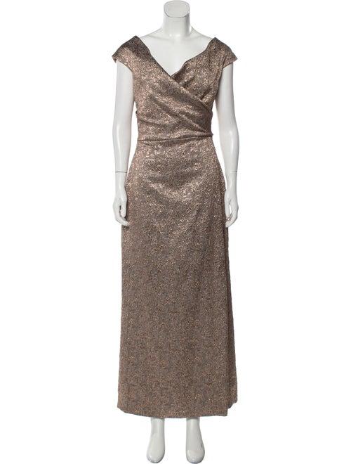 Teri Jon V-Neck Long Dress Metallic