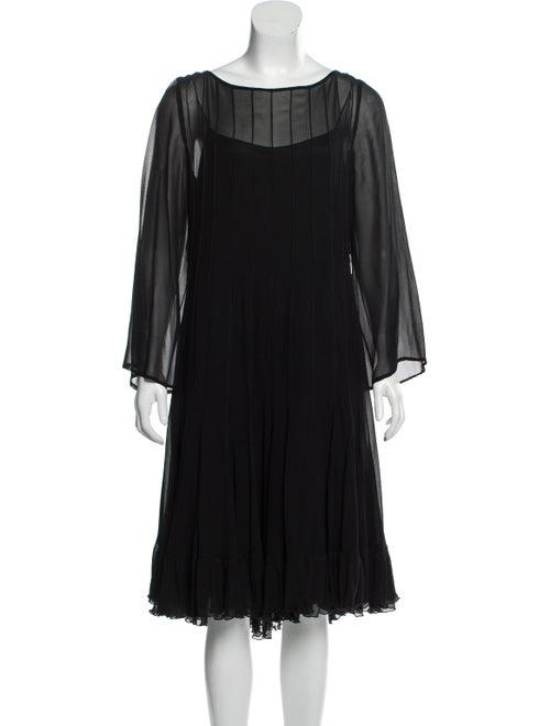 Teri Jon Scoop Neck Midi Length Dress Black