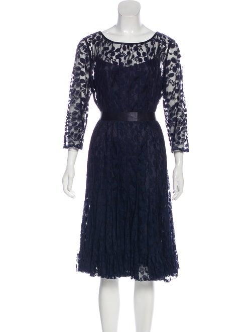 Teri Jon Lace Pattern Midi Length Dress Blue