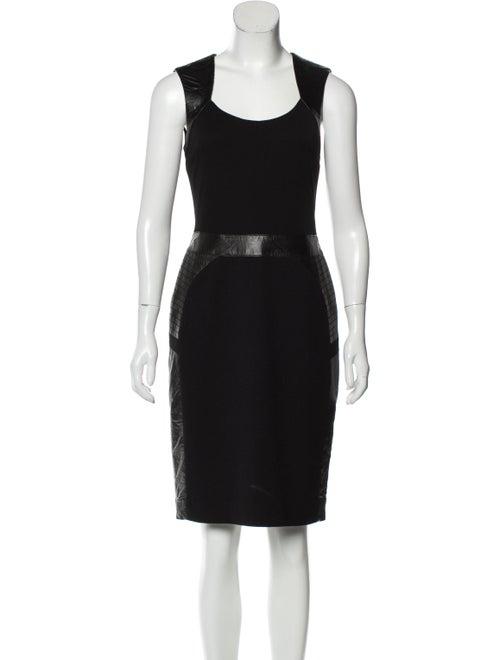 Teri Jon Scoop Neck Knee-Length Dress Black
