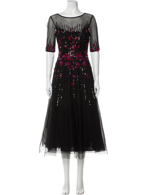Teri Jon Printed Long Dress w/ Tags Black
