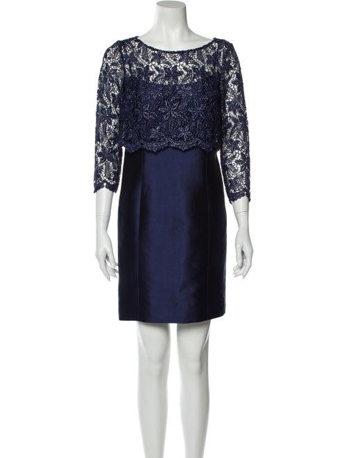 Teri Jon Silk Mini Dress Blue